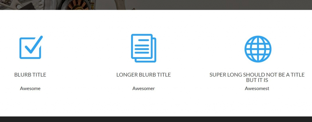 Divi Blurb Modules Content Container Lined Up Long Blurb Titles Using CSS