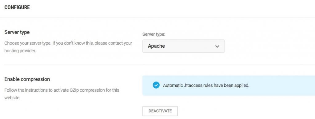 gzip compression set to server to apache